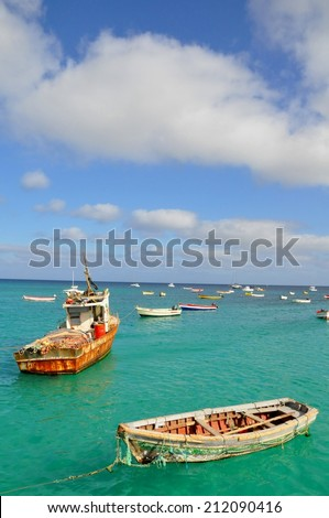 typical fishing boats at cape verde - stock photo