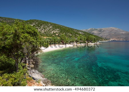 Typical Greece beach at the Island Kefalonia in Greece.