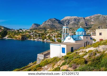 Typical Greek blue dome churches, Kalymnos, Greece - stock photo