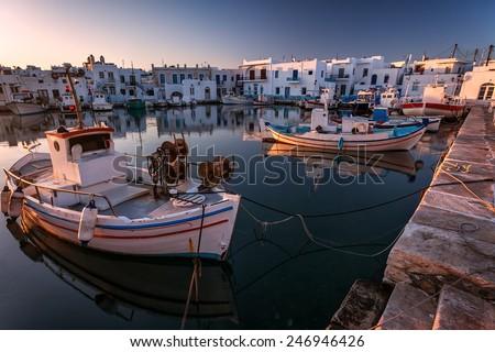 Typical Greek islands' village of Naousa, Paros island, Cyclades  - stock photo