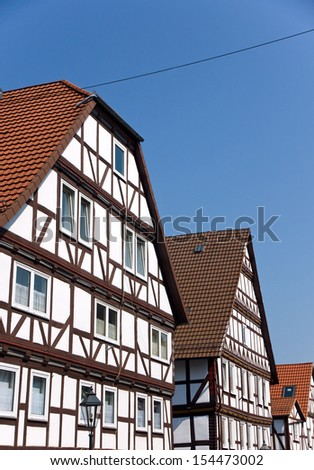 Typical half timbered houses in Wolfhagen, Germany