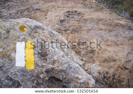 Typical hiking trail marker painted on a piece of rock - stock photo