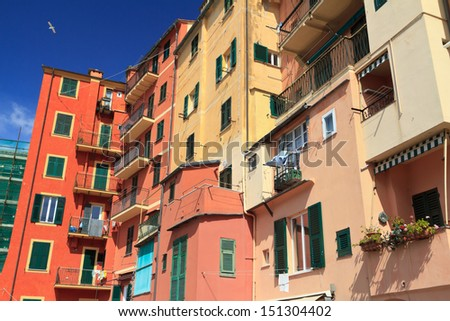 typical homes in Camogli, small town in Liguria, Italy