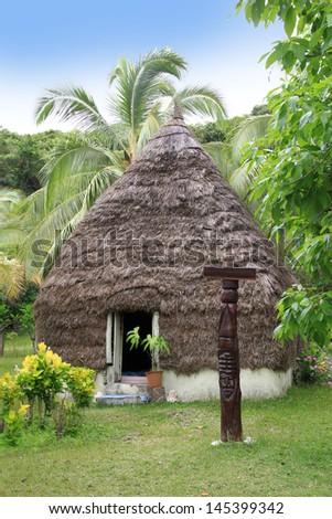 Typical house of Vanuatu - stock photo