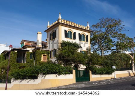 Typical house on the island St. Miguel  Ponta del Gada - stock photo