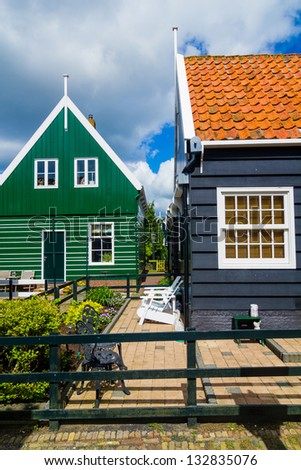 Typical houses in Marken, Netherlands, a small fisherman's town.