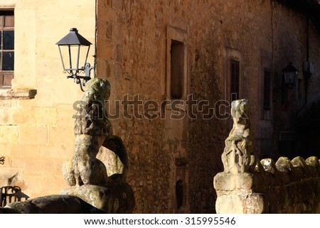 Typical houses in the World Heritage town of Santillana del Mar, Spain - stock photo