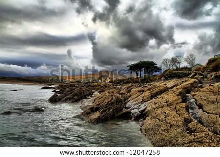 Typical Irish landscape on windy day in Dingle peninsula - stock photo