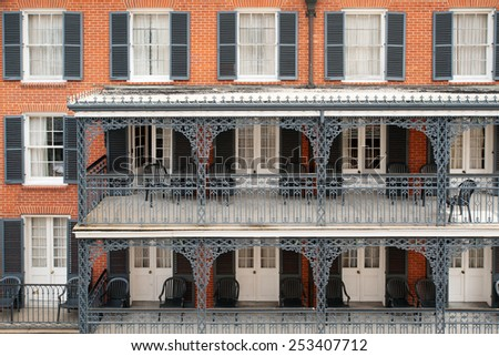 Typical ironwork building in French Quarter, New Orleans - stock photo