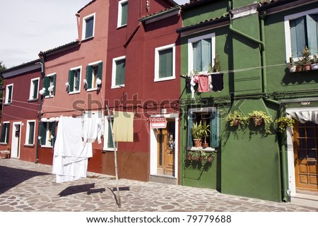 Typical Italian houses at Burano island next to Venice