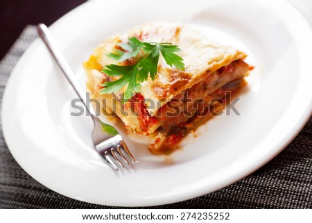 Typical italian lasagna served in a plate, one portion