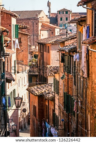 typical italian old town - tuscany - italy - volterra - stock photo