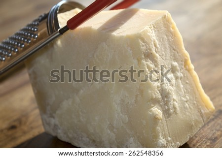 typical italian products : grated Parmesan cheese - stock photo