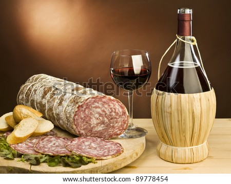 typical Italian salami and red wine - stock photo