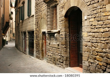 Typical italian street (Florence, Italy) - stock photo