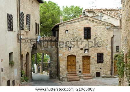 Typical Italian street view - stock photo