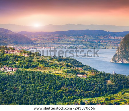 Typical italian village in the mountains. Region Lombardy, Province Brescia (BS) in Iseo Lake. Italy, Europe. - stock photo