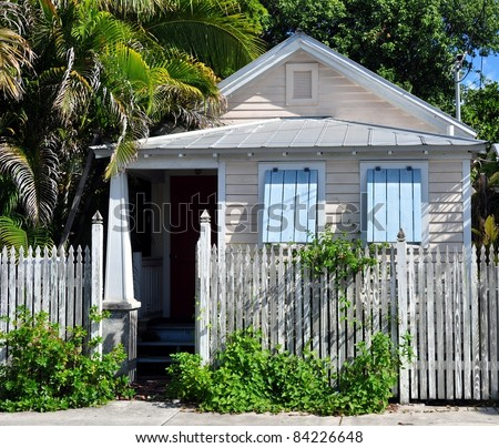 Typical Key West Conch Cottage Style Architecture - stock photo