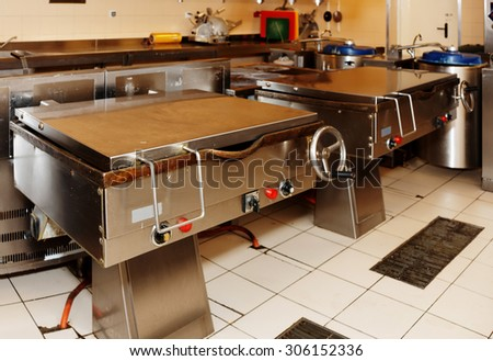Typical kitchen of a big food processing plant - stock photo