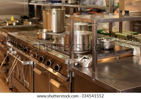Typical kitchen of a restaurant - stock photo