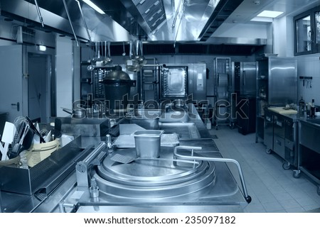 Typical kitchen of a restaurant, no people - stock photo