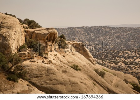 Typical landscape and rock forms in Dana National Park, Jordan - stock photo