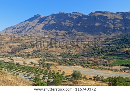 Typical landscape from the mountains of Crete island in Greece - stock photo