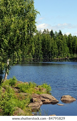 Typical landscape in Finland, here near Palokki - stock photo