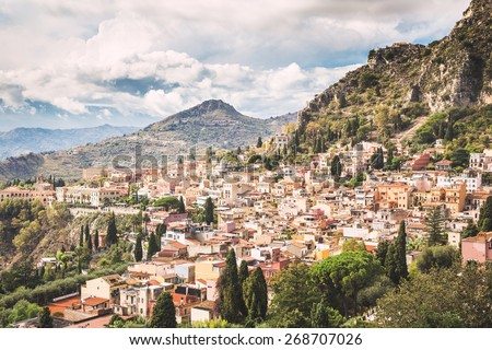 Typical landscape of Taormina village, Sicily. Italy. - stock photo