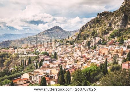 Typical landscape of Taormina village, Sicily. Italy. - stock photo