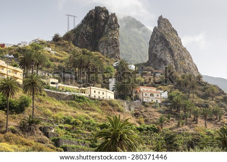Typical landscape on Gomera island, Spain - stock photo