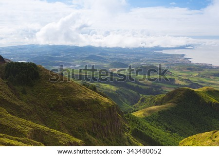 Typical landscape on Sao Miguel island, Azores,Portugal - stock photo