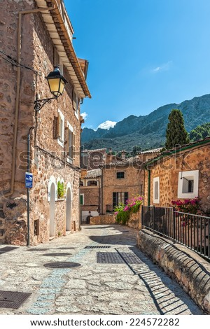 Typical lane in the mountain village of Fornalutx, Mallorca, Balearic Islands, Spain - stock photo