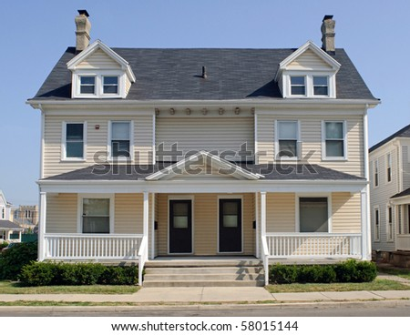 Typical Midwest Duplex House - stock photo