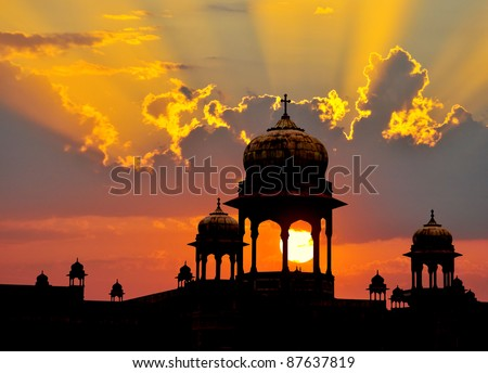 Typical Mogul design palace domes at sunset, Rajasthan, India. - stock photo