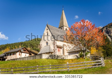 Typical Mountain Church in Autumn