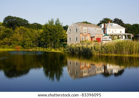 Typical New England house in Maine - stock photo