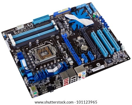 Typical new PC computer motherboard (socket 1156)