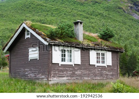Typical Norwegian house with grass on the rooftop