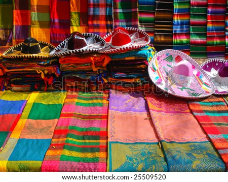 Typical objects of mexican craftsmanship - stock photo