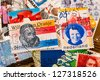 Typical old Dutch post stamps - stock photo