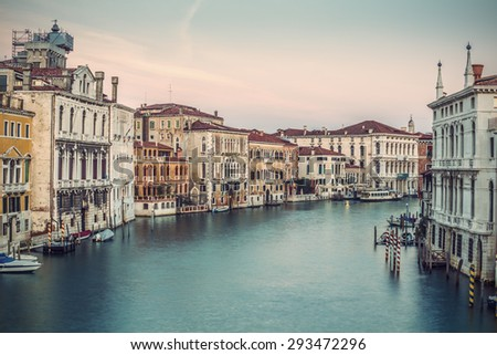 Typical old houses along Grand Channel (Canal Grande) at morning, Venice (Venezia), Italy, Europe, vintage filtered style - stock photo