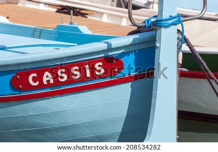 Typical old small boat in Cassis near Marseille in South France - stock photo