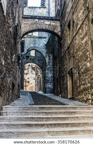 Typical old street in Narni, a medieval Italian city - stock photo