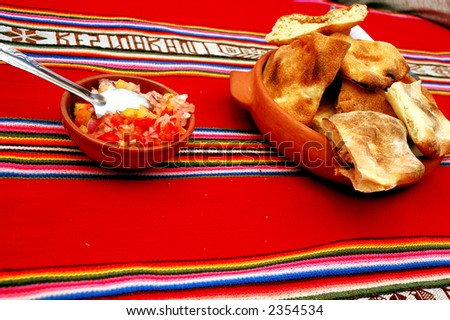 Typical peruvian highland food served as an appetizer - stock photo