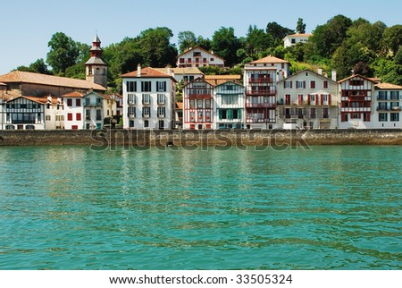 Typical port town in the Basque Country - stock photo