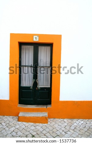Typical portuguese house door - stock photo