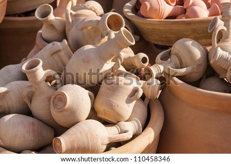 Typical pottery from the Berbers/Tunisia/Africa - stock photo