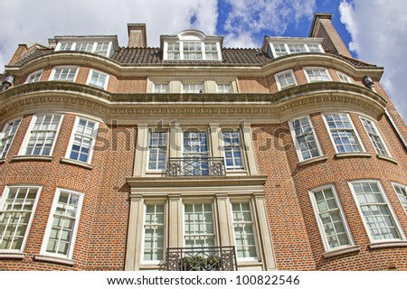 Typical red-brick building in London, England - stock photo