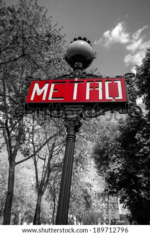 Typical red metro sign in Paris, France